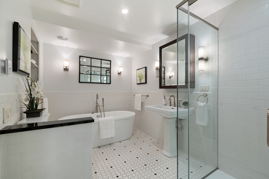 Real Estate Photography - 1234 N Dearborn St, Unit GR, Chicago, IL, 60610 - Master Bathroom