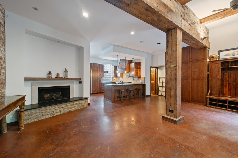 Real Estate Photography - 1234 N Dearborn St, Unit CH, Chicago, IL, 60610 - CH fireplace and kitchen
