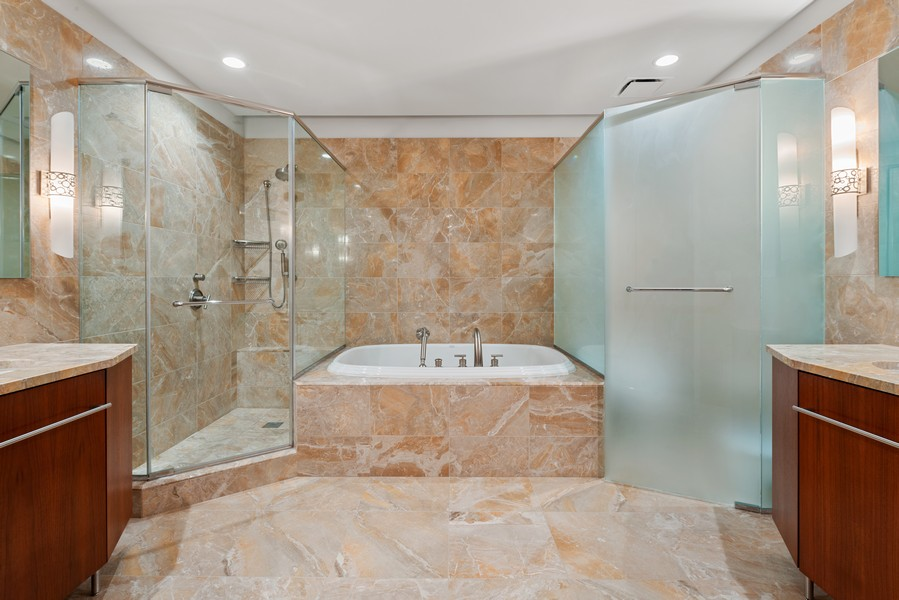 Real Estate Photography - 401 N Wabash, Unit 47G, Chicago, IL, 60611 - Master Bathroom