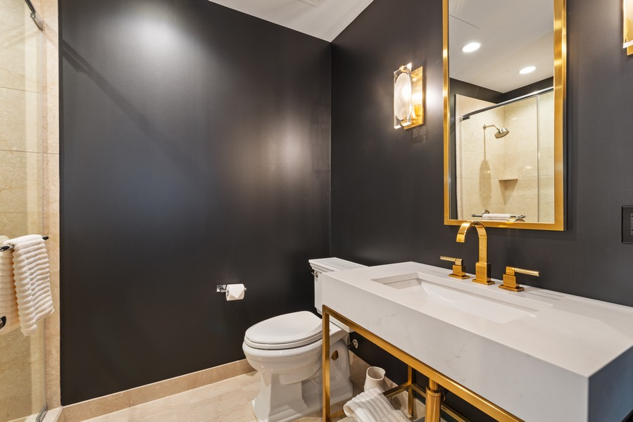 Real Estate Photography - 401 N Wabash, Unit 47G, Chicago, IL, 60611 - Powder Room