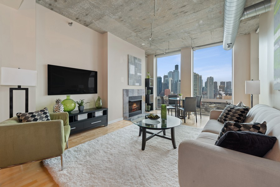 Real Estate Photography - 700 N Larrabee Dr, 1412, Chicago, IL, 60654 - Living Room
