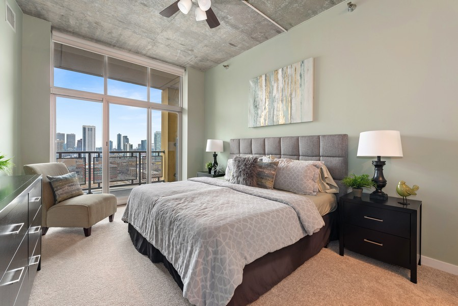 Real Estate Photography - 700 N Larrabee Dr, 1412, Chicago, IL, 60654 - Master Bedroom