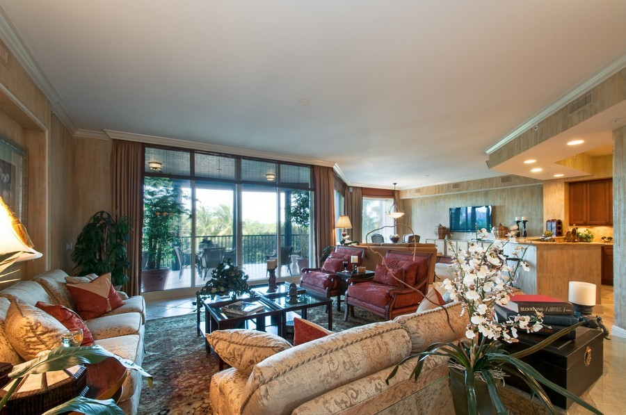 Real Estate Photography - 23750 Via Trevi Way, Unit #203, Bonita Springs, FL, 34134 - Kitchen / Living Room