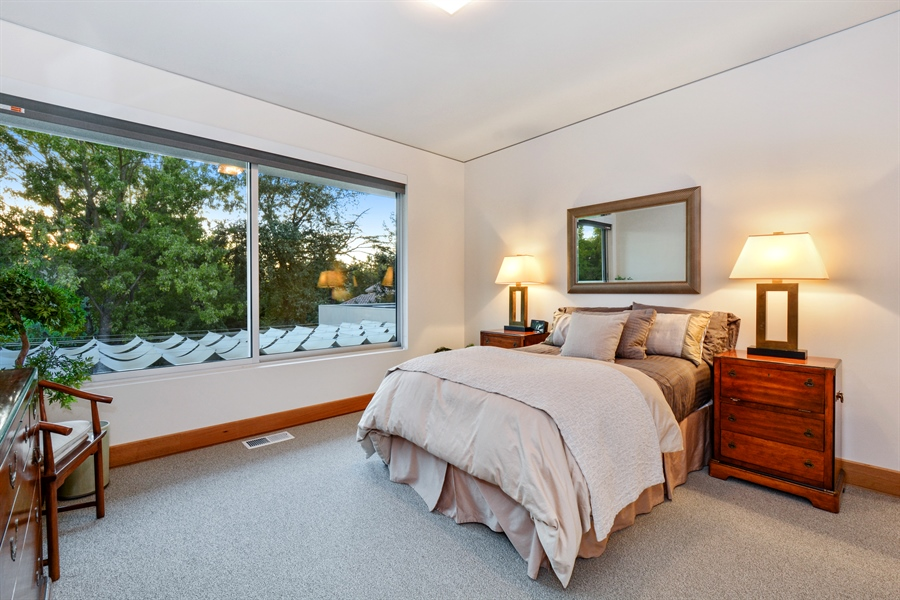 Real Estate Photography - 641 Estates Dr, Sacramento, CA, 95864 - Q -Upstairs Guest Bedroom Overlooking the Patio an