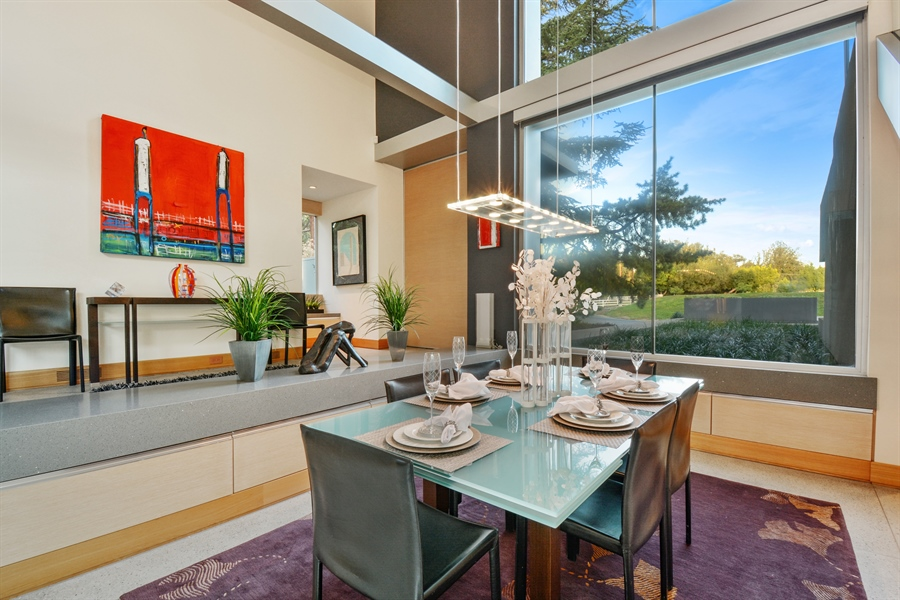 Real Estate Photography - 641 Estates Dr, Sacramento, CA, 95864 - G - Elegant Dining Room Inviting the Outside In