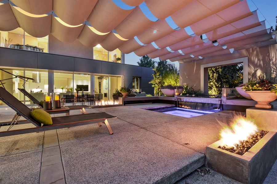 Real Estate Photography - 641 Estates Dr, Sacramento, CA, 95864 - Y - Elegant Evenings Warmed by Gas Fire Pits