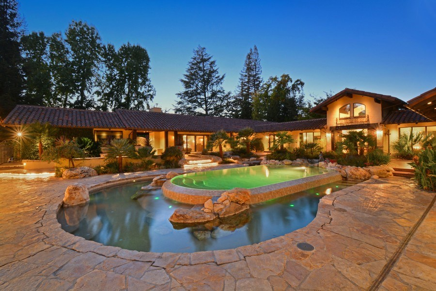 Real Estate Photography - 3771 Random Ln, Sacramento, CA, 95864 - Three-tiered Infinity Pool with Fountains