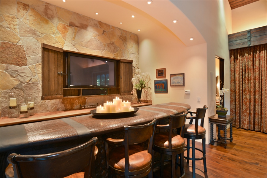 Real Estate Photography - 3771 Random Ln, Sacramento, CA, 95864 - Custom Bar - pillowed leather panels & iron detail