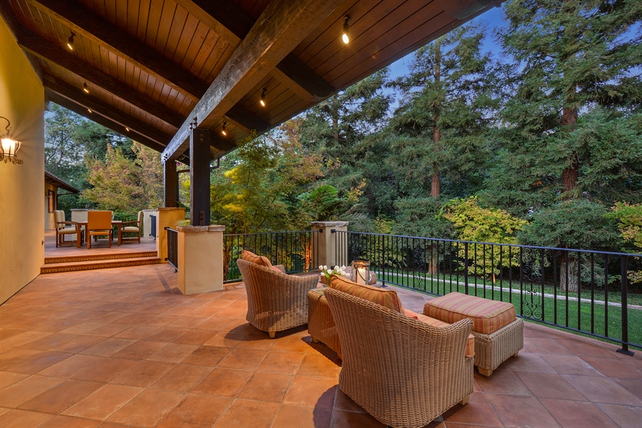 Real Estate Photography - 3771 Random Ln, Sacramento, CA, 95864 - The sweeping Loggia  for casual gathering & dining