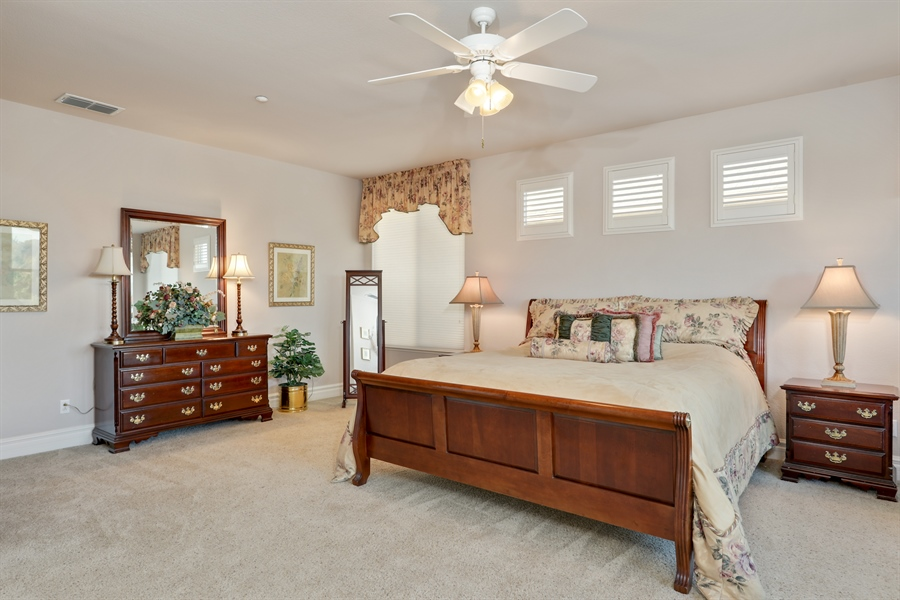 Real Estate Photography - 4420 Longview Dr, Rocklin, CA, 95677 - Master Bedroom W/Custom Windows/Bed Coverings