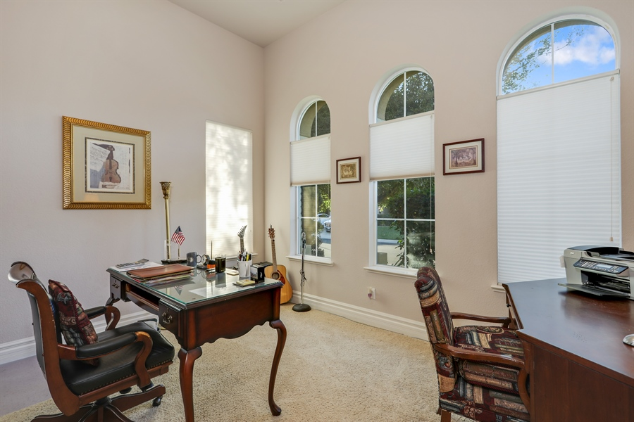 Real Estate Photography - 4420 Longview Dr, Rocklin, CA, 95677 - Home Office With View Of The Front Yard