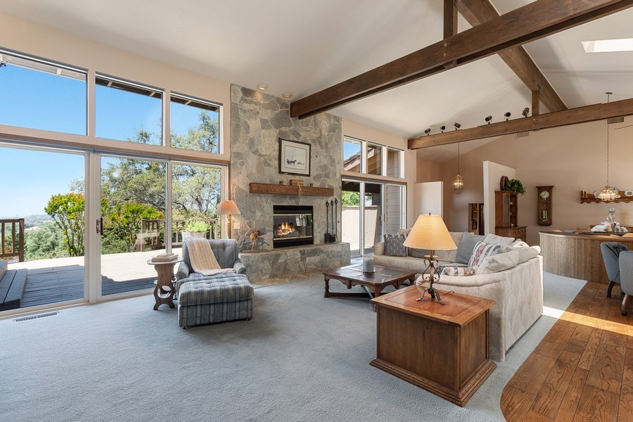 Real Estate Photography - 3570 Skyview Dr, Auburn, CA, 95602 - Lovely open beam ceiling and vast view windows.