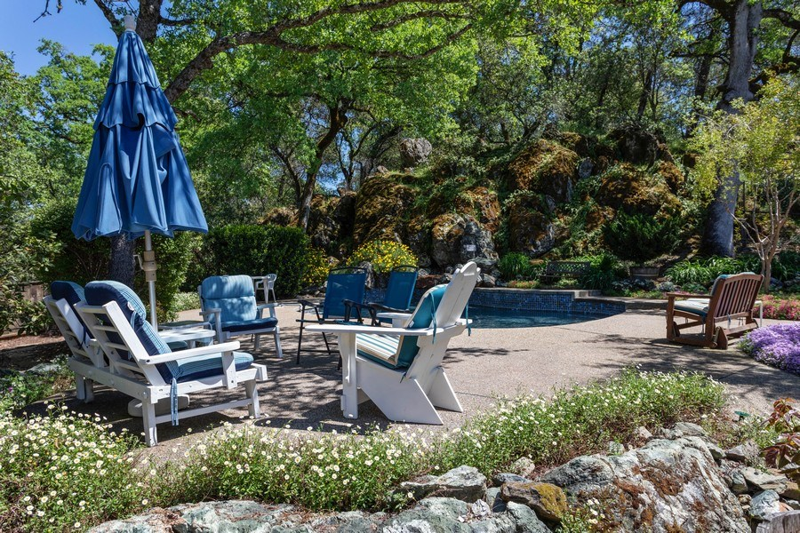 Real Estate Photography - 3570 Skyview Dr, Auburn, CA, 95602 - Amazing setting for the backyard pool, tucked into