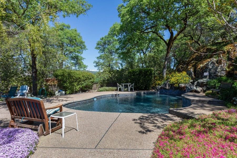 Real Estate Photography - 3570 Skyview Dr, Auburn, CA, 95602 - Lovely deck and pool-perfect for entertaining!
