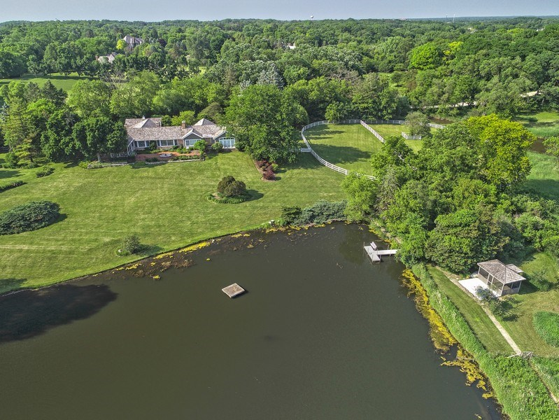 Real Estate Photography - 32 Oak Knoll Road, Barrington Hills, IL, 60010 - Water View - Aerial