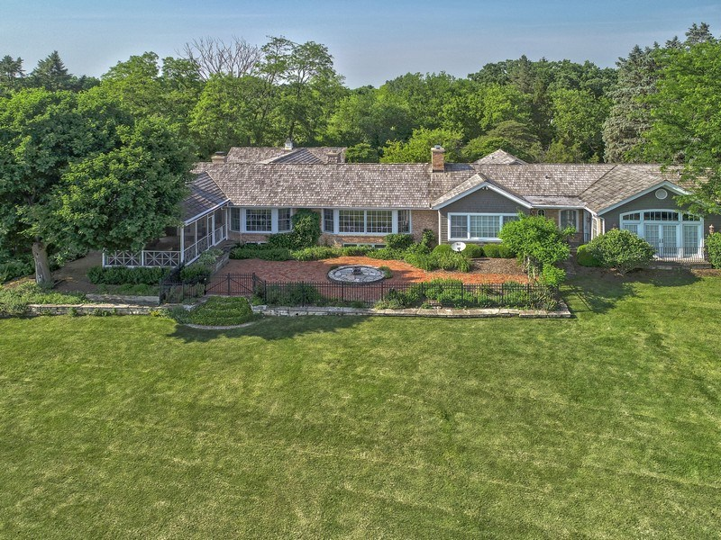 Real Estate Photography - 32 Oak Knoll Road, Barrington Hills, IL, 60010 - Rear View - Aerial