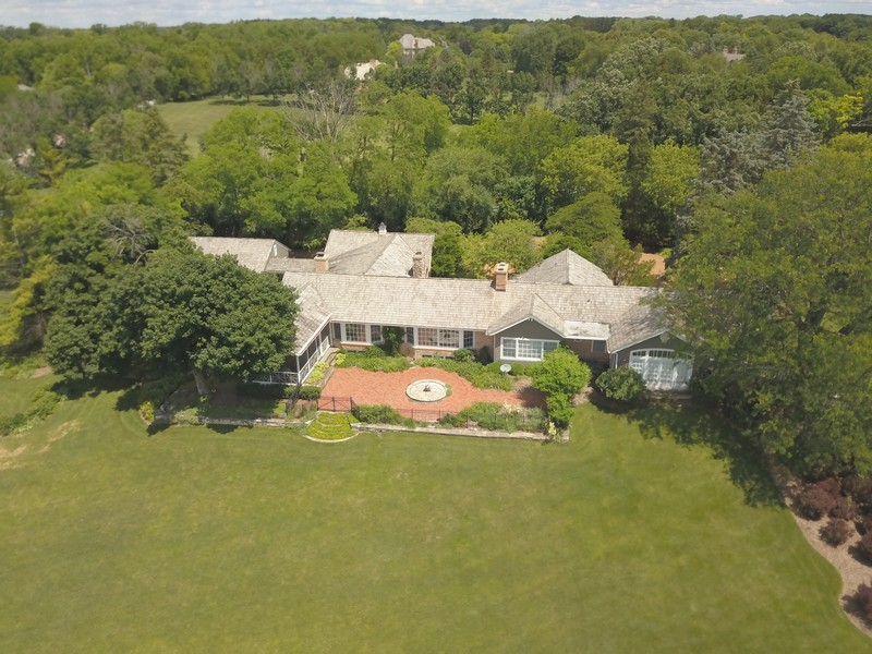 Real Estate Photography - 32 Oak Knoll Road, Barrington Hills, IL, 60010 - Rear View Aerial