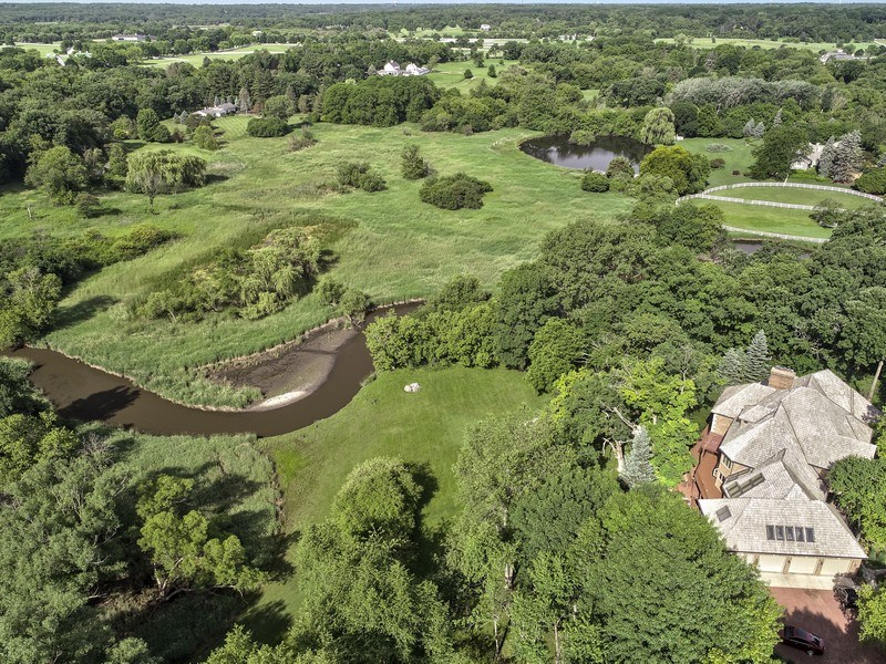 Real Estate Photography - 559 Oak Knoll Rd, Barrington Hills, IL, 60010 - Aerial View of Property