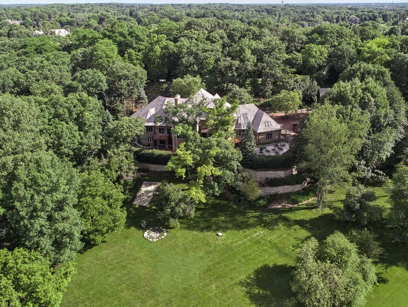 Real Estate Photography - 559 Oak Knoll Rd, Barrington Hills, IL, 60010 - Rear View - Aerial
