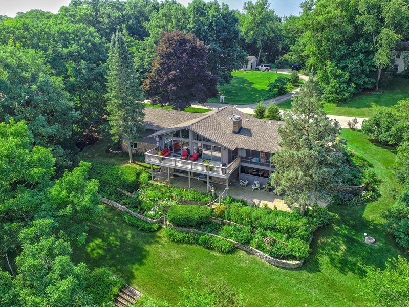 Real Estate Photography - 124 South Hills, Tower Lakes, IL, 60010 - Rear of Home - Aerial View