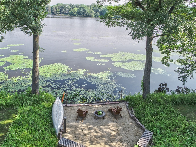 Real Estate Photography - 124 South Hills, Tower Lakes, IL, 60010 - Aerial Firepit/Lake View