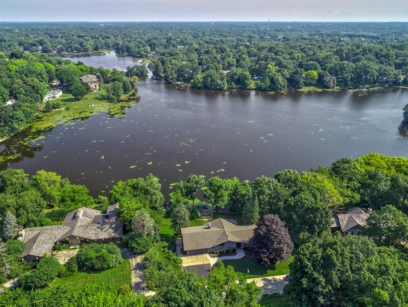 Real Estate Photography - 124 South Hills, Tower Lakes, IL, 60010 - Aerial View of home and Tower Lake