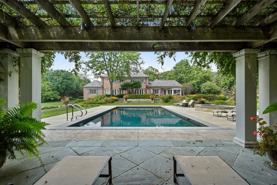 Real Estate Photography - 87 Hawley Woods Rd, Barrington Hills, IL, 60010 - Pergola Pool view