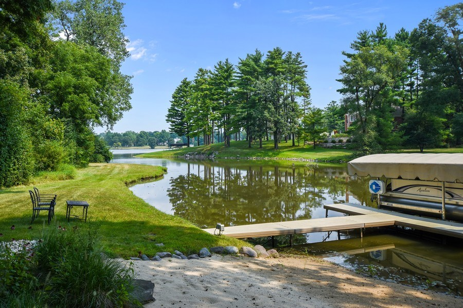 Real Estate Photography - 87 Hawley Woods Rd, Barrington Hills, IL, 60010 - Beach, private dock and Hawley Lake