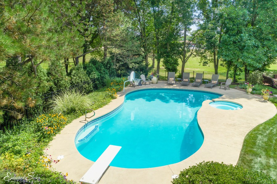 Real Estate Photography - 440 Tower Road, Barrington, IL, 60010 - Pool - Aerial