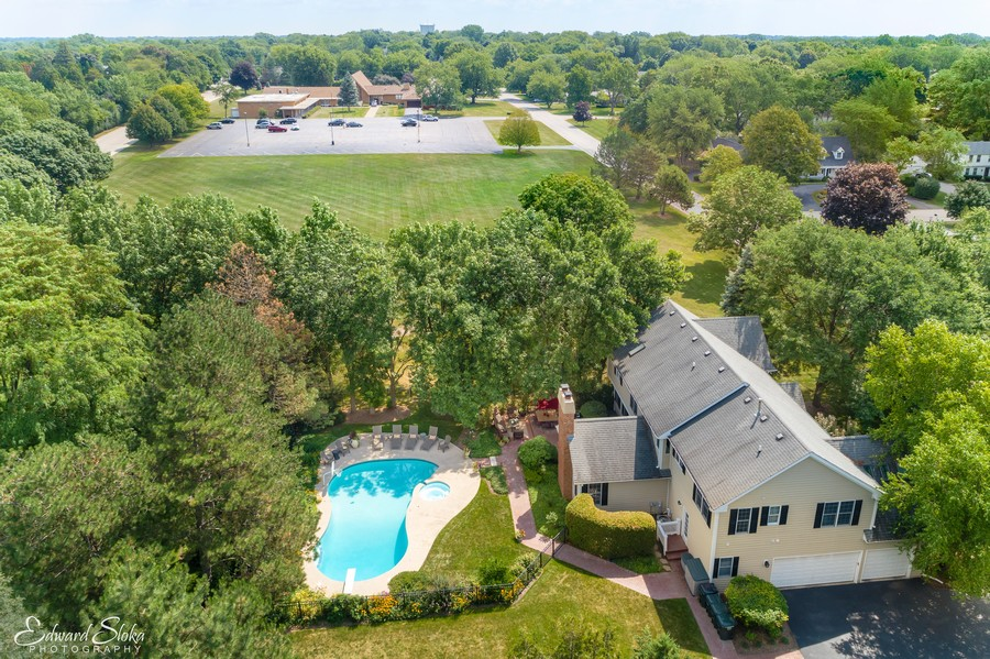 Real Estate Photography - 440 Tower Road, Barrington, IL, 60010 - Aerial View of Home/Pool
