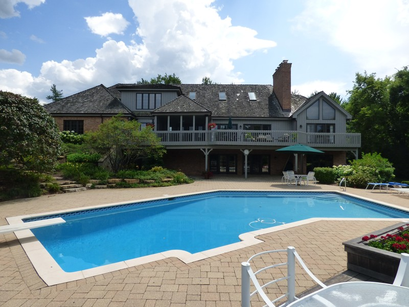 Real Estate Photography - 246 Oak Knoll Rd., Barrington HIlls, IL, 60010 - Pool and Patio view