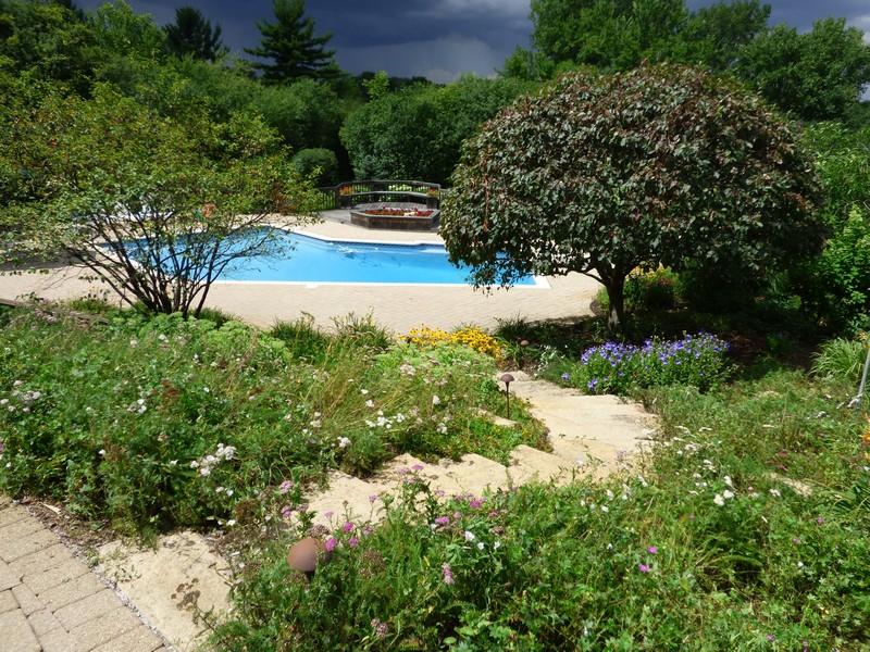 Real Estate Photography - 246 Oak Knoll Rd., Barrington HIlls, IL, 60010 - Garden & Pool view