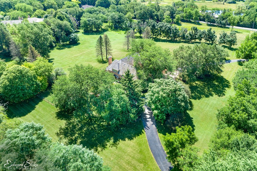Real Estate Photography - 40 Ridge Rd., Barrington Hills, IL, 60010 - Aerial View of Property