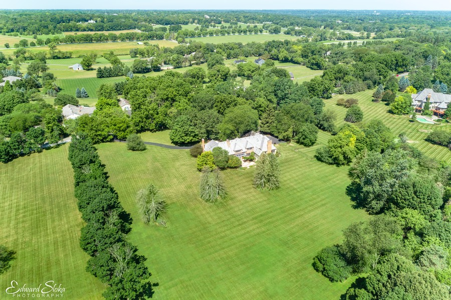 Real Estate Photography - 40 Ridge Rd., Barrington Hills, IL, 60010 - Aerial View