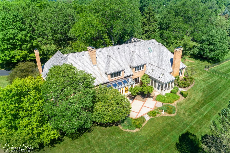 Real Estate Photography - 40 Ridge Rd., Barrington Hills, IL, 60010 - Aerial View of Back of Home