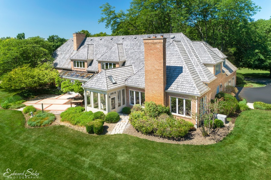 Real Estate Photography - 40 Ridge Rd., Barrington Hills, IL, 60010 - Aerial View - Side & Rear of Home