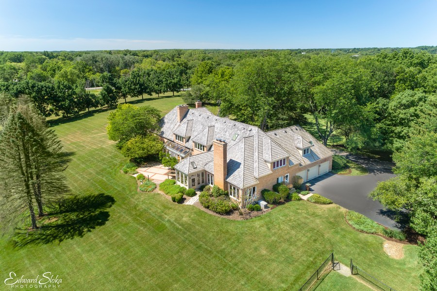 Real Estate Photography - 40 Ridge Rd., Barrington Hills, IL, 60010 - Aerial View of Home