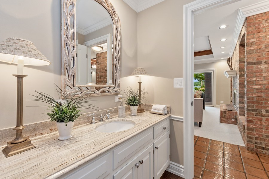 Real Estate Photography - 90 Hawthrone Rd., Barrington Hills, IL, 60010 - Powder Room (lower Level)