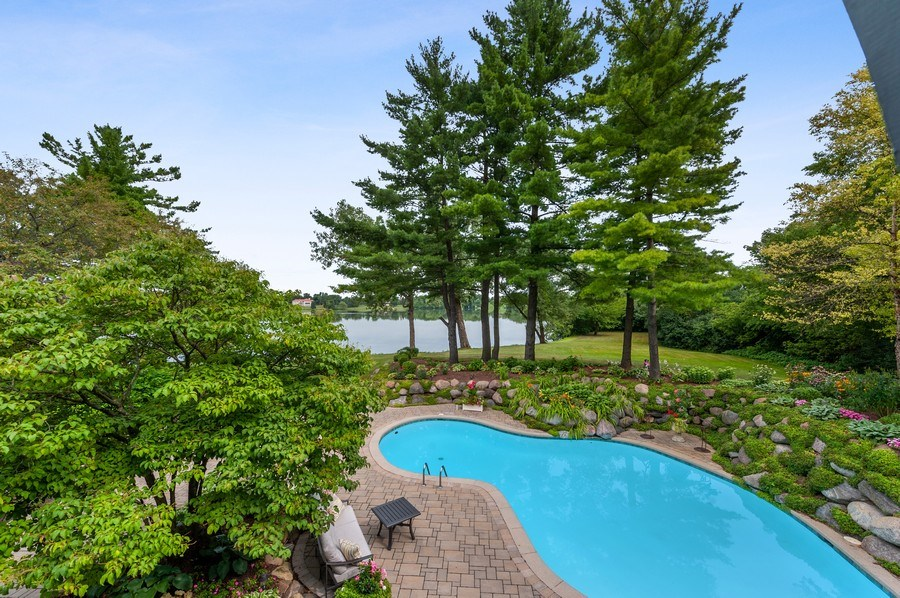 Real Estate Photography - 90 Hawthrone Rd., Barrington Hills, IL, 60010 - Pool & Lake view