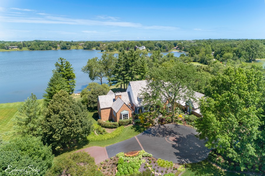 Real Estate Photography - 90 Hawthrone Rd., Barrington Hills, IL, 60010 - Aerial view with Hawley Lake