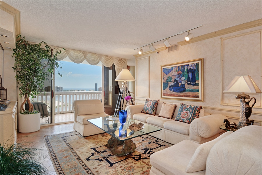 Real Estate Photography - 2800 Island Blvd, Unit 2903, Aventura, FL, 33160 - Living Room