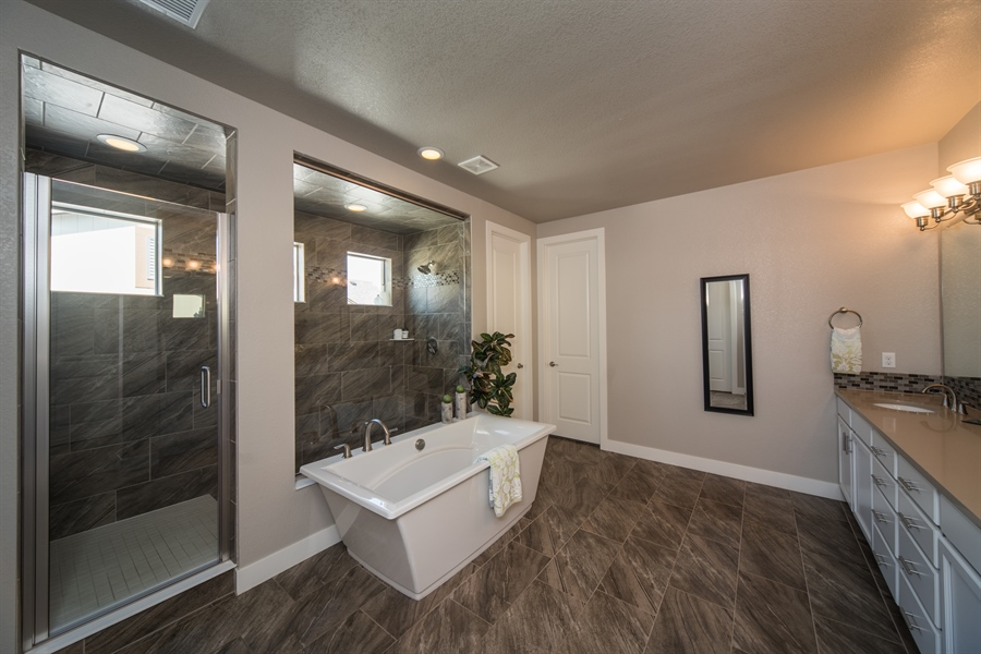 Real Estate Photography - 19612 W 95th Pl, Arvada, CO, 80007 - Soaking Tub and Extraordinary Shower in the Master