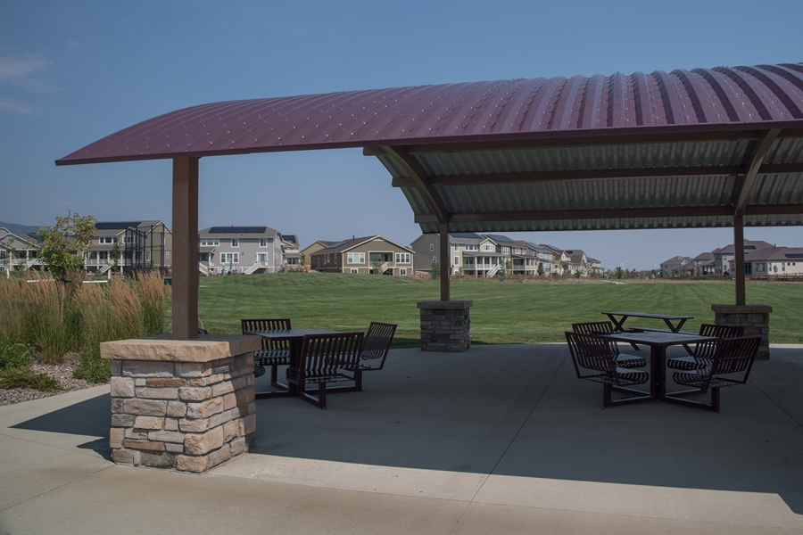 Real Estate Photography - 19612 W 95th Pl, Arvada, CO, 80007 - Covered picnic areas and park