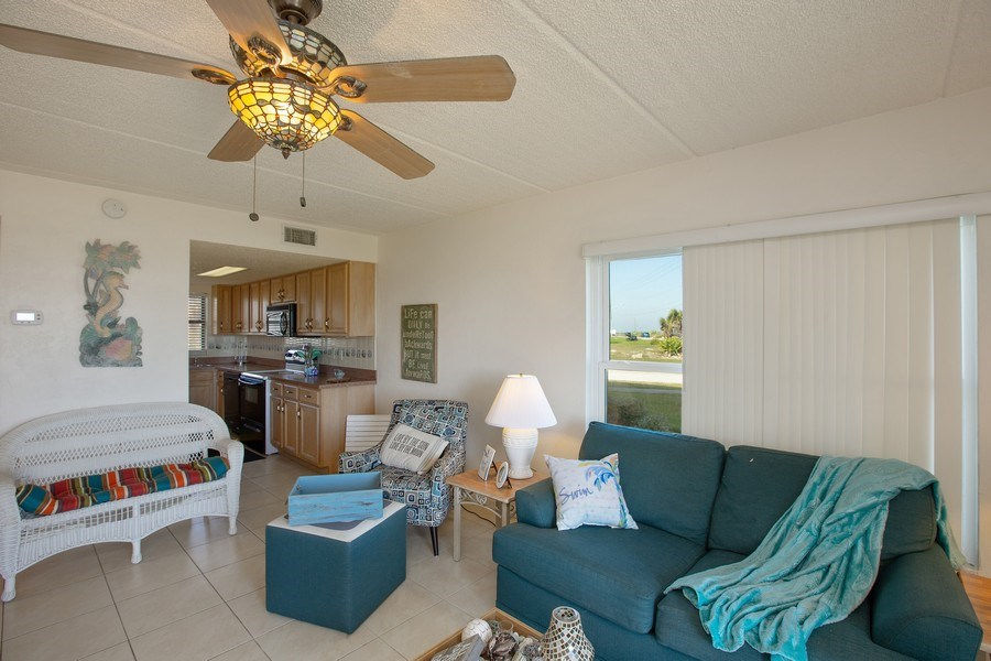Real Estate Photography - 2730 Ocean Shore Blvd, Unit 107, Ormond Beach, FL, 32176 - Kitchen / Living Room