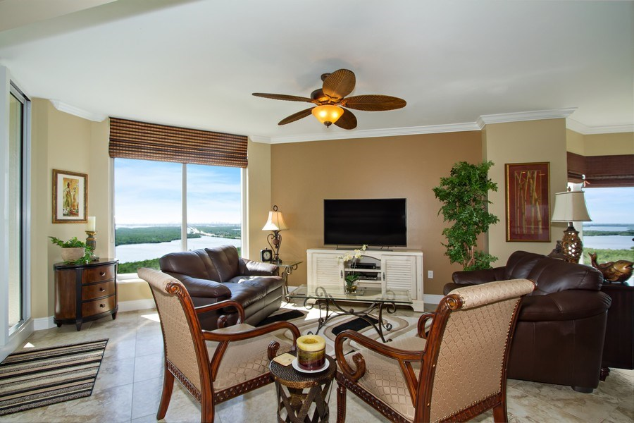 Real Estate Photography - 1050 Borghese Ln, 1506, Naples, FL, 34114 - Family Room