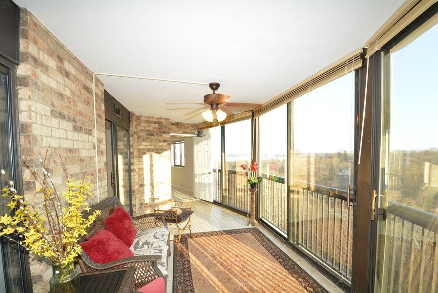Real Estate Photography - 5904 Mount Eagle Dr, Unit 814, Alexandria, VA, 22303 - Enclosed Balcony w/ Potomac River views