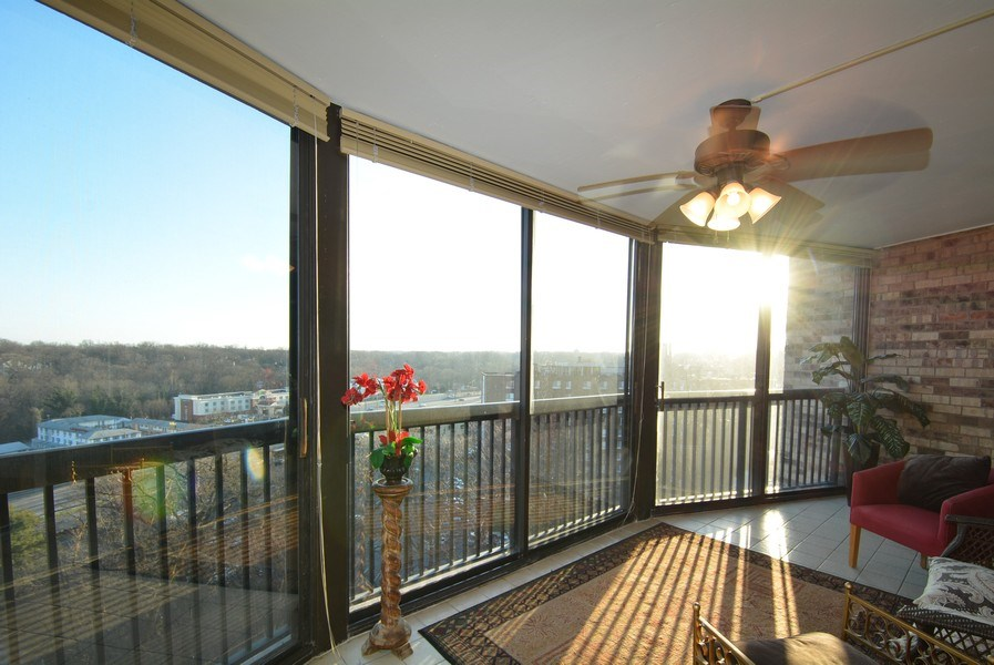 Real Estate Photography - 5904 Mount Eagle Dr, Unit 814, Alexandria, VA, 22303 - Largest enclosed balcony in Montebello!