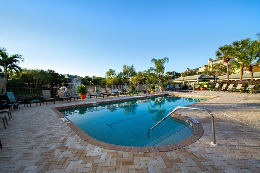 Real Estate Photography - 178 Vintage Cir, Unit 202, Naples, FL, 34119 - Outdoor Pool