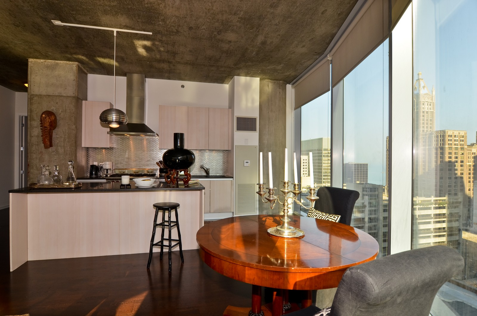 Real Estate Photography - 600 N Fairbanks, Unit 1801, Chicago, IL, 60611 - Kitchen / Dining Room