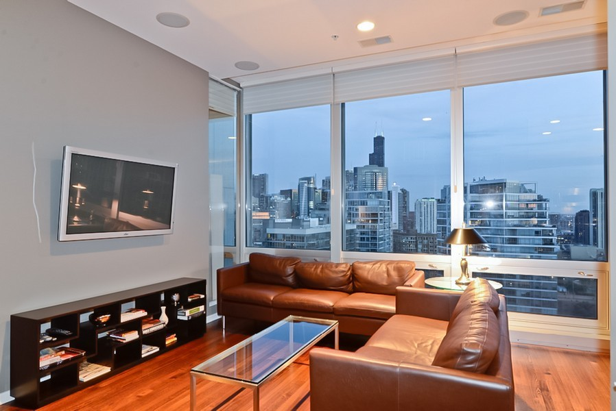 Real Estate Photography - 500 W Superior, Unit 1911, Chicago, IL, 60654 - Living Room